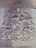 Eine Entlastung, die von Bayon-Bibliothek in Ankor Wat schnitzt Lizenzfreies Stockbild