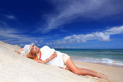 Eine entspannte Frau. Stockfoto