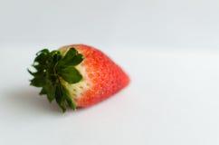 Eine Erdbeere lokalisiert auf weißem Hintergrund Lizenzfreie Stockbilder