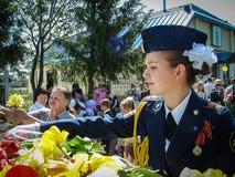 Eine ernste Sitzung zu Ehren Victory Days in Weltkrieg 2 kann 9, 2016 in der Kaluga-Region in Russland Stockbild