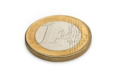 Eine Euromünze getrennt auf weißem Hintergrund Stockfotos