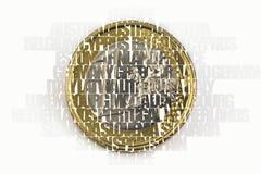 Eine Euromünze und Ländernamen, europäisches Währungseinheitskonzept Lizenzfreies Stockbild
