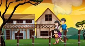 Eine Familie, die vor den Holzhäusern geht vektor abbildung