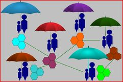 Eine Familie In Verbindung stehende Bindungen Familiennetz einiger Generationen Abstrakte virtuelle Fantasie, wirkliches Leben Da Lizenzfreie Stockbilder