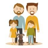 Eine Familie von 2 Annahmekindern der homosexuellen Männer Stockbild