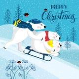 Eine Familie von lustigen lächelnden Eisbären Polar betrifft einen Hintergrund einer Winterlandschaft Stockbilder