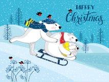 Eine Familie von lustigen lächelnden Eisbären Polar betrifft einen Hintergrund einer Winterlandschaft Stockfoto