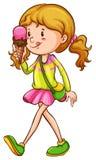 Eine farbige Skizze eines Mädchenessens Stockfoto