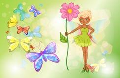 Eine Fee, die eine rosa Blume mit Schmetterlingen hält Stockbild
