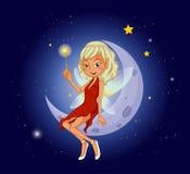 Eine Fee, die einen magischen Stab sitzt am sichelförmigen Mond hält Stockfotos