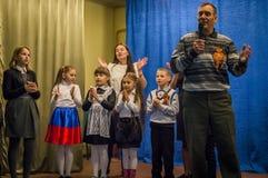 Eine festliche Sitzung und ein Konzert auf 9 können 2017 in der Kaluga-Region von Russland Lizenzfreie Stockfotos
