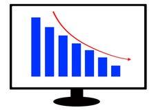Eine Finanzdiagrammillustration innerhalb eines Computerbildschirms lizenzfreie stockbilder