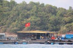 Eine Fischfarm bereitet vor sich, eine Last zu nehmen lizenzfreie stockfotos