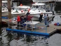 Eine Fischreinigungsstation an Prinzen Rupert Lizenzfreies Stockfoto