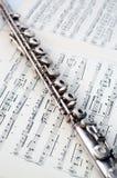 Eine Flöte auf Blattmusik lizenzfreies stockbild