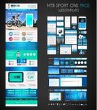 Eine flache UI Designschablone der Seite SPORT-Website Stockfoto
