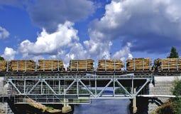 Eine Frachtserie transportiert viel Brennholz Stockbild