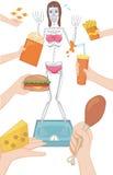 Eine Frau denken immer, dass sie fett ist stock abbildung