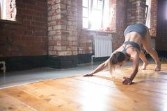 Eine Frau, die auf Training aufwärmt Ausführung von Übungen für die Rückseite und den Dorn lizenzfreie stockfotografie