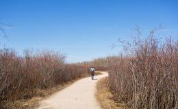 Eine Frau, die entlang einen Wanderweg geht lizenzfreie stockbilder