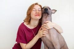 Eine Frau, die mit einem mexikanischen unbehaarten Hund umarmt stockfotos