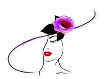 Eine Frau in einem Hut mit einer Rose Stockfoto