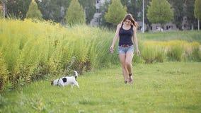 Eine Frau gräbt oben einen Hund - einen Lieblingspug Gehen in den Wald oder in den Park entlang dem Weg die Hundezwinger auf eine stock video footage