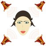 Eine Frau hört auf das Megaphon mit Schallwellen lizenzfreie abbildung