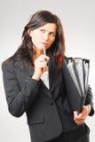 Eine Frau im Büro Stockfotografie