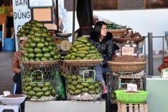 Eine Frau im beschäftigten Markt in Vietnam Lizenzfreie Stockbilder