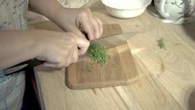 Eine Frau kocht Gulasch mit gedämpftem Kohl stock video footage