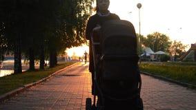 Eine Frau mit einem Kind in einem Rollstuhl ist bei Sonnenuntergang stock video footage