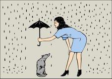 Eine Frau mit Regenschirm und einem Hund Vektor Abbildung