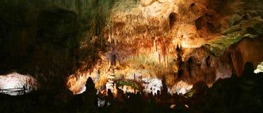 Eine Frau starrt Carlsbad-Höhlen an lizenzfreies stockfoto