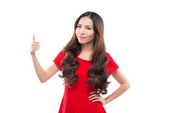 Eine Frau stellt etwas bei Chrtstmas dar, asiatisch lizenzfreie stockfotos
