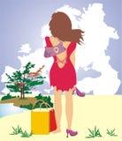 Eine Frau träumt über Rest lizenzfreie abbildung