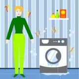 Eine Frau war traurig, weil ihre Waschmaschine brach Unterbrochene Waschmaschine Rückseite mit 100 Geldern lizenzfreie abbildung