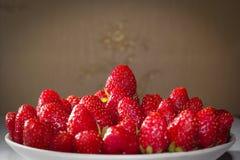 Eine frische, appetitanregende Erdbeere Stockbilder