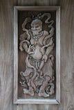 Eine Göttlichkeit wurde gestaltet auf dem Tor eines Tempels in Matsue (Japan) Lizenzfreies Stockfoto