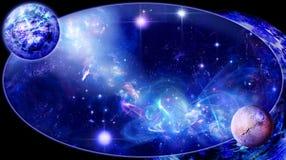 Eine Galaxie ist in einem Oval stock abbildung