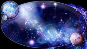 Eine Galaxie ist in einem Oval lizenzfreie abbildung