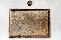 Eine Gedenkplakette als Anzeige der Eroberung Litovel durch die Schweden im Jahre 1643 Lizenzfreie Stockfotos