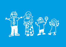 Eine Gekritzelgrafik einer frohen Familie Kreideartillustration Stockbild