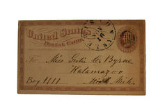 Eine geprägte eine Cent US-Postkarte bekannt gegeben in Lewiston, NY und an Kalamzoo, Michigan adressiert Stockbilder