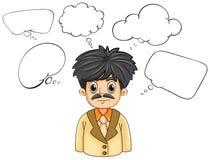 Eine Geschäft-gesinnte Person mit vielen leeren Gedanken Stockbild