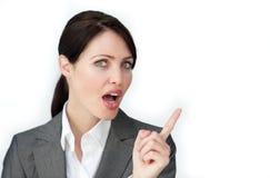 Eine Geschäftsfrau sagen Achtung Lizenzfreies Stockbild