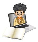 Eine Geschäftsikone innerhalb des Laptopschirmes mit einem leeren Notizbuch Stockbild