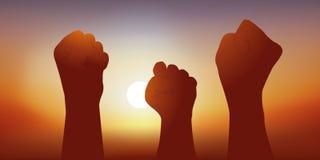 Eine Geste, die den Sieg von Gewerkschaftsgegnern in einer Entscheidung oder in einer Richtung ihres Managements symbolisiert lizenzfreies stockbild