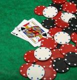 Eine gewinnende Blackjackhand Stockfoto