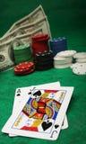 Eine gewinnende Blackjackhand Stockbilder